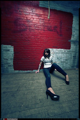 Meeshi (VKMUSTBEDESTROYED) Tags: red white bricks elevator detroit wideangle jeans heels 14mm lensdistortion rokinon russellindustrialcenter lenscreditmikelanzetta