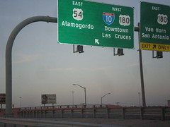 I-110/US-54 North at I-10 (sagebrushgis) Tags: sign texas elpaso intersection i10 overhead us180 us54 i110 biggreensign freewayjunction