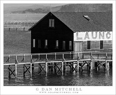 Launch For Hire Building (G Dan Mitchell) Tags: ocean california county morning travel usa white mist black building monochrome fog america print point landscape for bay coast pier wooden dock pacific marin north stock shed scenic license shack launch remnants inverness reyes hire drift tomales