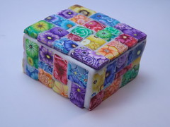 Colorful Mosaic Tile Trinket Box (polymerclaycreations) Tags: blue orange yellow rainbow purple box handmade mosaic tiles etsy trinket pcagoe monthlychallenge polymerclaycreations millefiorifloral angelahickey