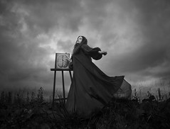 The Painter (Maren Klemp) Tags: fineartphotography fineartphotographer darkart darkartphotography blackandwhite melancholy monochrome evocative expressive paint painting brain dress sky clouds nature outdoors naturallight selfportrait windy movement dreamy bookcover dramatic painter fineart symbolic woman conceptual