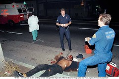 4-1992 – Los Angeles riots (31) (ngao5) Tags: ambulance corpse dead police policebrutality protest riot rodneyking socialunrest street tapedbeating uniform urban losangeles ca usa