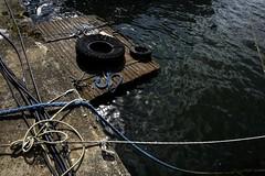 Composition portuaire (Sarah Devaux) Tags: pneus cordes bleu lignes courbes bois flottant mauvaises herbes bordeaux bassin à flots marina eau garonne port câbles noeuds extérieur base sousmarine
