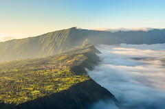 Village near Mount Bromo (narenrit) Tags: bromo mountain mist light sun sunrise cloud sky morning valcano tree view beauty hill top scenic indonesia tropical asia asian east cliff travel trip mount sapatate different village country