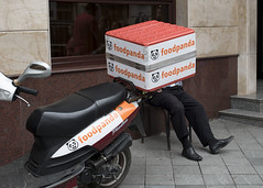 Food Panda (Blinkofanaye) Tags: foodpanda georgia street candid photography man boxhead adjara batumi scooter