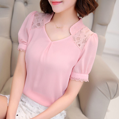 Summer 2016 new Korean women's plus size chiffon loose shirt short sleeve women's t shirts short summer dress