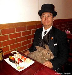 Dr. Takeshi Yamada and Seara (Coney Island Sea Rabbit) at the Sake Japanese sushi buffet restaurant in Brooklyn, NY on March 27, 2016.  20160527Fri DSCN6200=3035p. Sake. Japanese buffet restaurant. 11 course dinner, one (searabbits23) Tags: searabbit seara takeshiyamada  taxidermy roguetaxidermy mart strange cryptozoology uma ufo esp curiosities oddities globalwarming climategate dragon mermaid unicorn art artist alchemy entertainer performer famous sexy playboy bikini fashion vogue goth gothic vampire steampunk barrackobama billclinton billgates sideshow freakshow star king pop god angel celebrity genius amc immortalized tv immortalizer japanese asian mardigras tophat google yahoo bing aol cnn coneyisland brooklyn newyork leonardodavinci damienhirst jeffkoons takashimurakami vangogh pablopicasso salvadordali waltdisney donaldtrump hillaryclinton endangeredspecies save