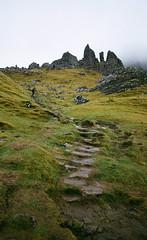 (SamBHart) Tags: 35mmfilm nikonfm2 nikon 35mm 24mmnikkor analog kodakultramax kodakultramax400 europe travel isleofskye scotland scottishhighlands vertical hike hiking oldmanofstorr trail rockformations magical mystical misty foggy green lush uk