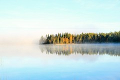 Foggy lake (anne.ausems) Tags: fog lake morning sweden lapland mist meer ochtend white wit zweden