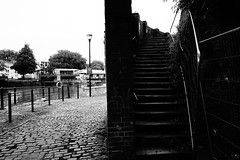 Contrasting Paths (JamieHaugh) Tags: bristol redcliffe outdoor outdoors blackandwhite blackwhite monochrome stairs harbour