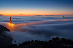 "The Veiled City (Willie Huang Photo) Tags: sf sanfrancisco city bridge nature fog landscape cityscape scenic goldengatebridge goldengate bayarea marinheadlands hawkhill sffog ""sunrise"""