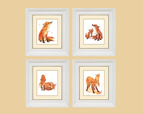 Playful Fox Art Print Set