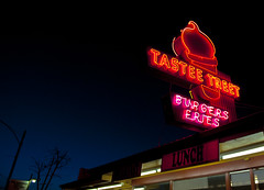 Burger Joint (RiverBearPhoto) Tags: oregon vintage photo neon or burger jackson leon americana joint prineville riverbear