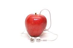 Steve Job's Apple (SharmaPunit) Tags: red music white apple fruit unique creative itunes fresh views headphones comments flicker myideas favroites