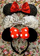 Minnie Mouse Ears Headbands (applel0ve) Tags: red black cute silver ears disney plush collection polkadots bow kawaii minniemouse waltdisneyworld satin sparkly magickingdom headband sequin sequined disneyparks