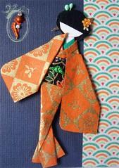 ACEO26 - Kin (tengds) Tags: flowers orange black green gold waves aceo geisha papercraft japanesepaper washi ningyo handmadecard chiyogami yuzenwashi japanesepaperdoll indianbindi origamidoll grayishblue nailartsticker tengds budstick