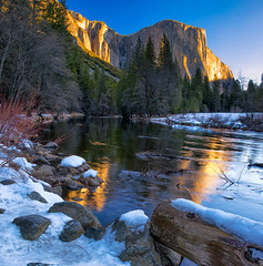 Old Snow in Yosemite (mojo2u) Tags: california snow sunrise nationalpark valley yosemite elcapitan mercedriver dirtysnow 2470mm nikond800