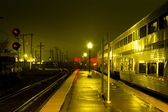 Amtrak westbound at Galesburg, IL DEC 2011 (CentralILRailfan) Tags: railroad plant station night train work illinois fuji time railway trains il east signals velvia stop amtrak searchlight fujifilm passenger 50 rejected galesburg rvp50 cbq amtk a rejections railpicturesnet railpictures aplanteast