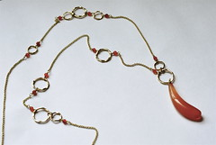 long carnelian necklace (methodjewelry) Tags: gold necklace long handmade jewelry etsy asymmetrical gemstone carnelian goldnecklace methodjewelry