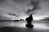 Contre-jour (Nick Twyford) Tags: longexposure sea newzealand blackandwhite seascape monochrome clouds sunrise reflections islands nikon wideangle nz coromandel eastcoast rockstack hahei cathedralcove sep2 mercurybay leefilters mareslegcove 1024mm d7000 lee09nd lee12gndsoft