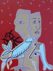 'a thousand words' (gtglanz/art) Tags: newmexico art colors birds hope women thought emotion handmade outsider contemporaryart paintings expressions dreams expressionism expressionist z imaginary esperanza acrylics visionary fantasyart womensart healingart spontaneousart spiritualart contemporarypaintings feministart imaginaryart gtglanzart gayleglanzcom gayleglanz
