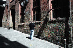 Pondering Gum (vibrant_art) Tags: seattle street art wall kids gum washington colours sticky playful postalley