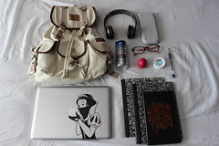 Whats In Your Bag -- Apr. 2013 (KimmyLeGrande) Tags: moleskine canvas whatsinyourbag rucksack rayban knapsack macbookpro snowwhitesrevenge hdsolobeats