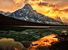 A Golden Light at Waterfowl Lake (Jeff Clow) Tags: lake reflection nature water landscape bravo albertacanada banffnationalpark waterfowllake mountchephren tpslandscape