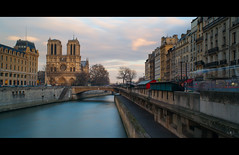 Front of Notre Dame (Zed The Dragon) Tags: city bridge winter light sunset sky bw paris france building seine skyline architecture skyscraper photoshop reflections pose french landscape geotagged effects photography iso100 photo europe long exposure flickr cityscape minolta photos sony hiver 28mm capital f100 nb notredame full exposition frame nd fullframe alpha reflets quai postproduction hdr highdynamicrange sal zed 2012 francais lightroom historique effets quais storia longue parisien photomatix 24x36 0sec a850 sonyalpha hpexif dslra850 alpha850 zedthedragon