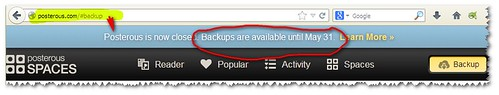 Get your backup from Posterous by 31 May... or lose it.