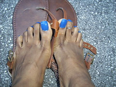 Pure Ice French Kiss nail polish (hyellow) Tags: blue cute feet foot toes long pretty unique nails pedicure