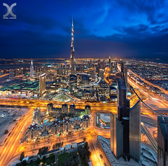 Luminocity (DanielKHC) Tags: road blue clouds bay nikon dubai uae business zayed khalifa sheikh burj d800 vertorama nikkor1424mmf28