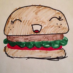 Kawaii Burger (drawn by my daughter) (fordsbasement) Tags: square burger squareformat hamburger kawaii iphoneography instagramapp uploaded:by=instagram