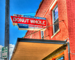 The Donut Whole HDR (hz536n/George Thomas) Tags: sky sign spring bricks may kansas canon5d wichita hdr smrgsbord photomatix ef1740mmf4lusm 2013 cs5 donutwhole
