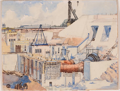 Ardnacrusha Power Station under construction (National Library of Ireland) Tags: 1920s ireland summer clare shannon watercolour powerplant 20thcentury 1928 munster dams twenties ardnacrusha hydroelectricity nationallibraryofireland shannonscheme ardnacrushapowerstation printsanddrawingscollection brigidobrien