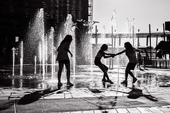 Water Games (Alexander Pellegrin) Tags: milan water photography blackwhite milano joy streetphotography happiness games fotografia yout watergames alexanderpellegrin