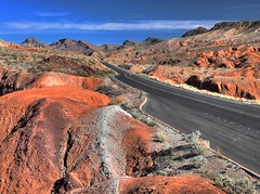 two lane black top (RV_Navigator) Tags: arizona nevada rockformations red blacktop 2lane