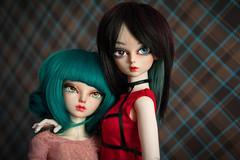 Best friends (Purple Raccoon) Tags: dolls handmade marcia bjd hybrid fairyland maka msd effy minifee rheia withdoll balljonteddoll