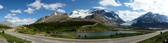 Icefields Parkway Panorama (Stefan Jrgensen) Tags: mtathabasca mtandromeda athabascaglacier mtkitchener athabasca andromeda glacier kitchener mountain icefieldsparkway columbiaicefielddiscoverycentre alberta canada columbiaicefield panorama bluesky clouds mountains rockymountains canadianrockies sony dslra700 a700 2013 ice snow water lake road parkway nationalpark