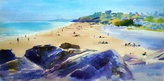 Ballymoney south horizontal (katekos) Tags: watercolor watercolour water wexford ballymoney beach sand seascape sea summer people courtown tanning sky sketch painting art akwarela krajobraz morski katekos