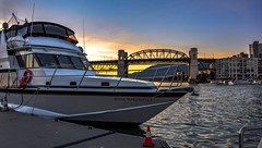 Her 'Royal' highness (Images by Christie  Happy Clicks for 2016!) Tags: yacht vancouver bc canada dock mooring bridge granvilleisland sunset water ocean falsecreek burrardbridge seascape