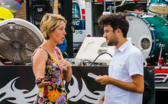 Speaking To The Press (John Kocijanski) Tags: people candid streetphotography streetcandid streetfair bagelfestival journalism politician congress campaign candidate zephyrteachout canon g15