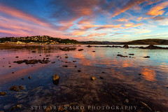 Looking the other way (stewartbaird) Tags: plimmerton beach newzealand sunset nature pink red blue waves sea landscape clouds