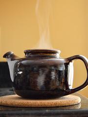 Brewing Lunch Tea (eppujensen) Tags: eppujensen 2016septembereverydaylife edibles drinks tea teapot brewing brown yellow lunch black steam stoneware kitchen