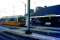 Slide 071-82 (Steve Guess) Tags: ostend oostende flanders flandre flandern  belgium belgique belgien belgi  tram tramway streetcar strassenbahn strasenbahn  coast coastal  cte kust kste nmvb sncv vicinal bus