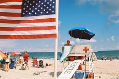 Lifeguard stand (andrewkatchen) Tags: asburypark newjersey jerseyshore beach ocean nikon film 35mm portra400 n6006