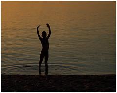 the water nymph (kurtwolf303) Tags: waternymph wassernymphe person water wasser sea meer strand shore contrast kontrast olympusem1 omd microfourthirds micro43 systemcamera dmmerung dusk fhr germany deutschland unlimitedphotos topf25 250v10f topf50 500v20f 750views kurtwolf303 topf75 1000v40f