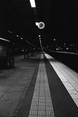 Night at the train station (Nils Kristofer Gustafsson) Tags: blackandwhite bnw ishootfilm retro rollei 400s lomo lomography sweden rebro keepfilmalive filmisnotdead filmphotography film rodina adonal konica long exposure night