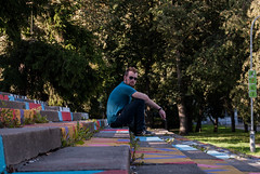 Smoking brother (modestmoze) Tags: brother sitting smoking shirt one alone steps stairs square concrete many architecture nature city park grass trees day view vilnius lithuania 2016 500px september autumn shadows fresh green black brown purple pink red blue bokeh