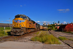 """Westbound Empty Coal Train in Kansas City, MO (""""Righteous"""" Grant G.) Tags: up union pacific railroad locomotive train trains west westbound southern sp patch emd ge kansas city missouri omaha main"""